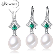 цены Real Freshwater Pearl Jewelry Set Women,trendy Silver Set 925 Necklace Earrings Girl Birthday Gift