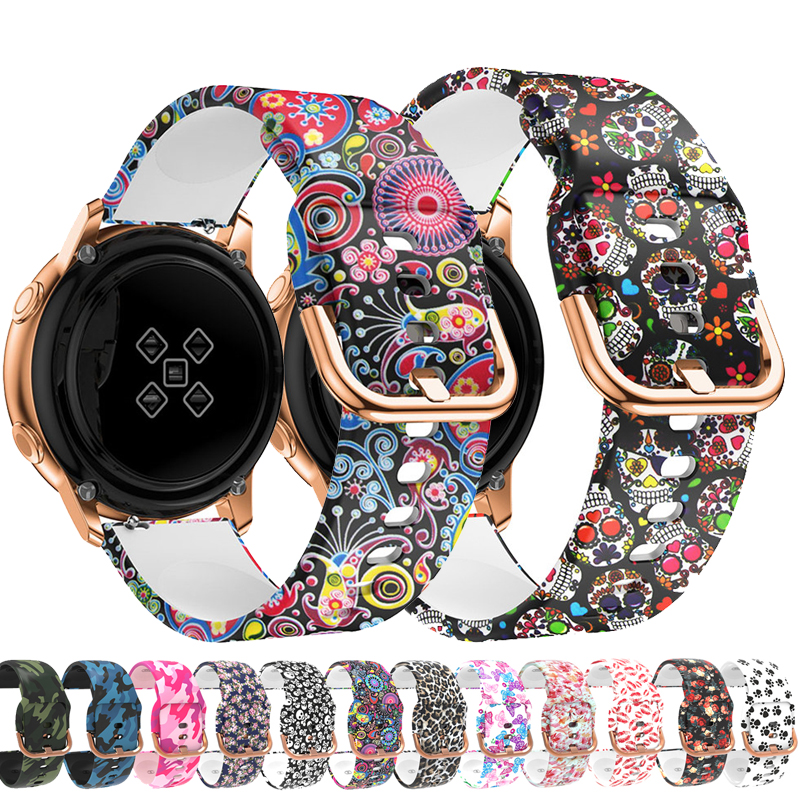 20mm Printing Silicone Watchband For Samsung Galaxy Watch Active 42mm Gear Sport S2 Garmin Amazfit Bracelet Band Strap Correa