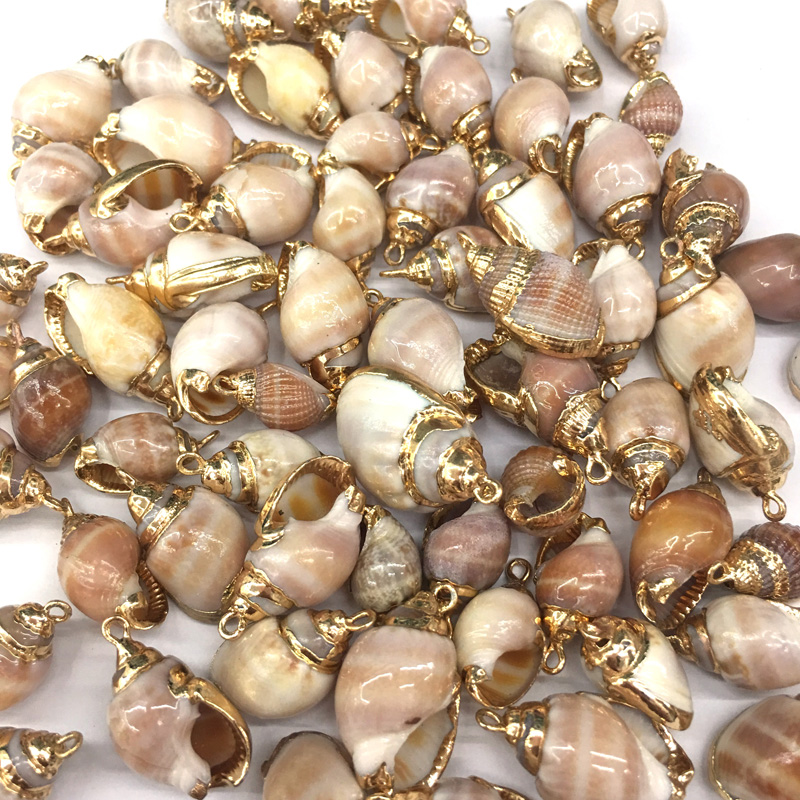 5Pcs Gold Enamel Sea Shell Charms Pendants DIY Jewelry Bracelet Necklace Making