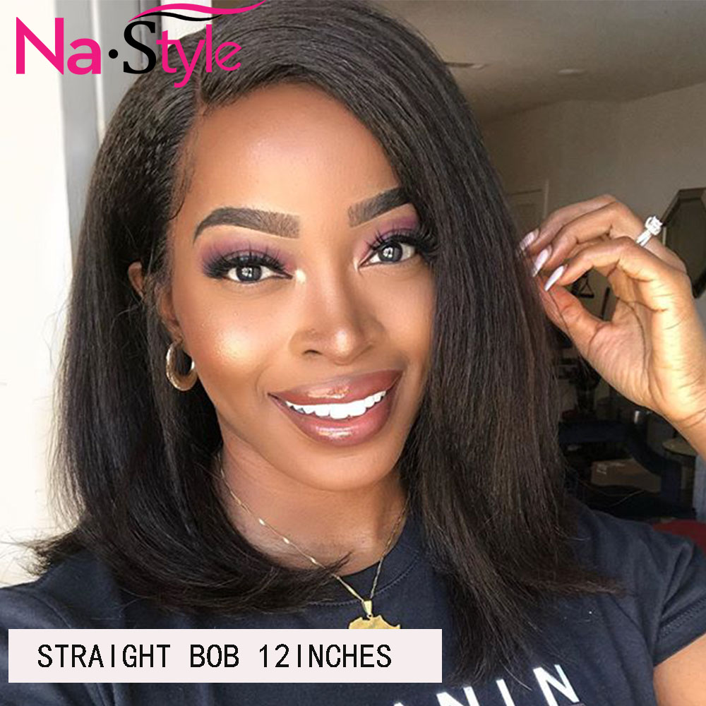 Afro Kinky Straight Bob Wig For Women 13x6 Lace Front Human Hair Wig Pre Plucked With Baby Hair 150% Pixie Cut Wig Human Hair