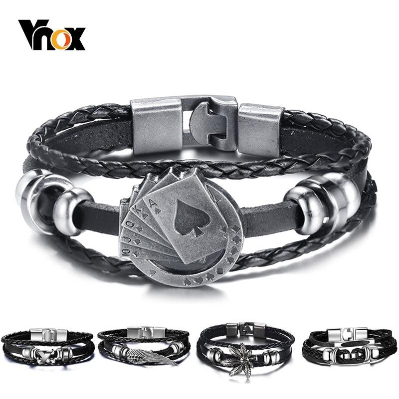 Vnox Lucky Vintage Men's Leather Bracelet Playing Cards Raja Vegas Charm Multilayer Braided Women Pulseira Masculina 7.87″