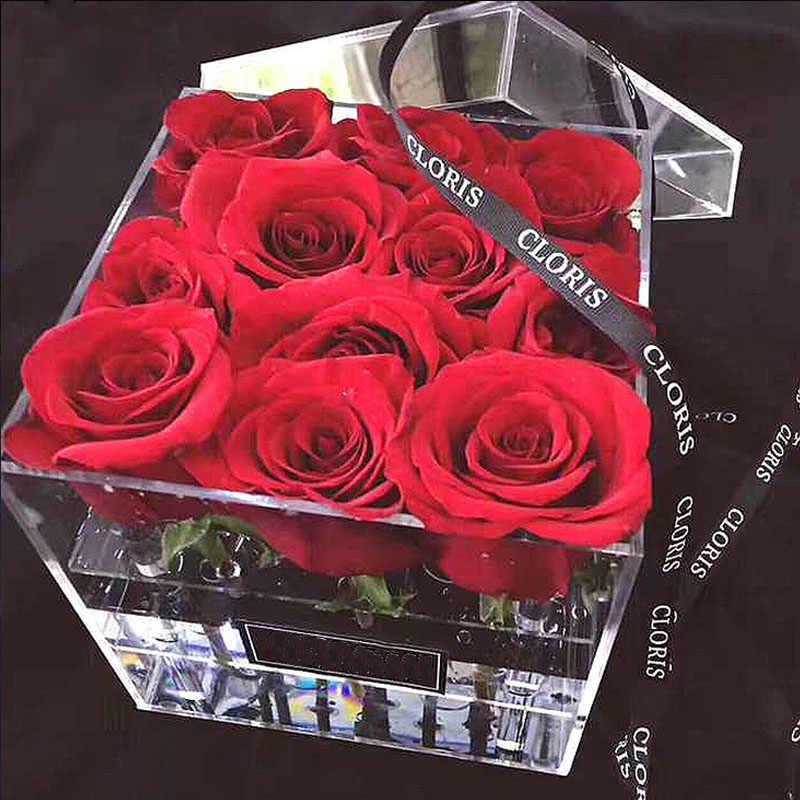 Caja de almacenamiento de acrílico para exhibición de flores rosas, organizador de maquillaje, caja de regalo de flores con estuche para cosméticos, venta al por mayor