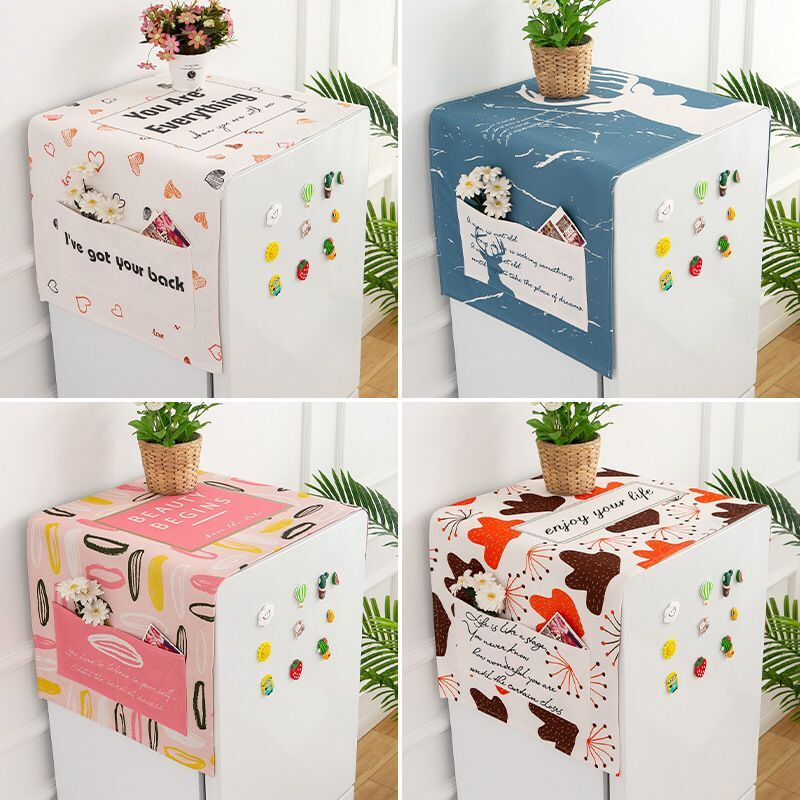Refrigerator Cover Cloth Cotton Linen Dustproof Cloth Washing Machine Cover Cloth Sunscreen Waterproof Microwave Oven Covercloth