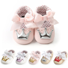 Baby Shoes Girl Princess Bling Crown Bowknot Toddler PU Rubb