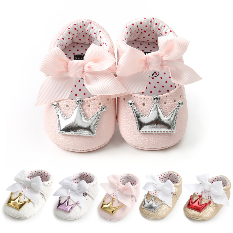 Baby Shoes Girl Princess Bling Crown Bowknot Toddler PU Rubber Sole Anti-slip First Walkers Infant Newborn Crib Shoes Moccasins