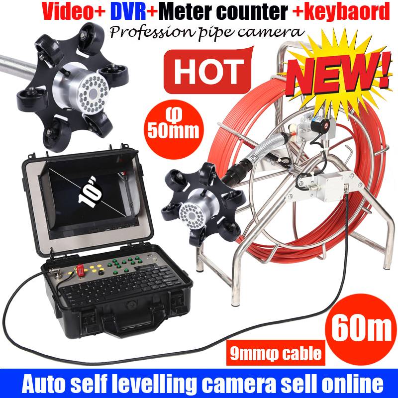 60m Auto Self Level DVR Sewer Pipe Inspection Camera System Pipe Well Camera System With 50mm Auto Self Level Pipe Camera