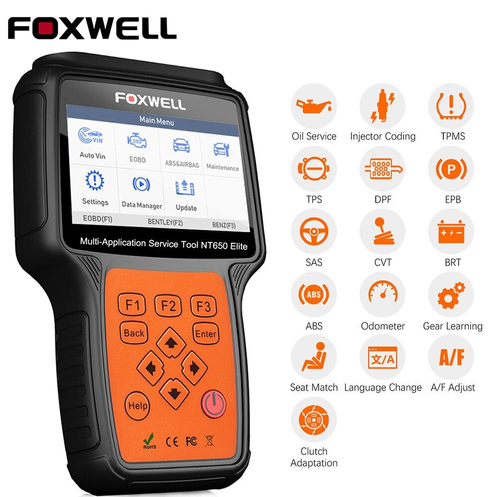 Foxwell NT650 Elite OBD2 Scanner EPB DPF SAS TPMS Öl Reset EOBD OBD 2 Auto Scanner Multi-sprache Auto diagnose Freies Update