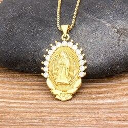 2020 sprzedaż hurtowa 10 stylów klasyczny wisiorek z maryją naszyjnik złoty kolor naszej pani z Guadalupe biżuteria religijna naszyjnik Colar