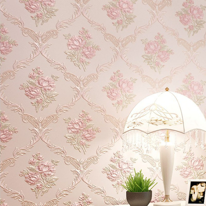 Living Room Bedroom TV Background Nonwoven Fabric Warm Pastoral Wallpaper Marriage House Wall-to-Wall European Style 3D Coining