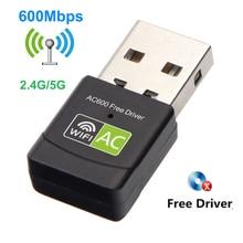 Darmo sterownik Adapter WIfi 600 mb/s dwuzakresowy 2.4GHz i 5GHz USB2.0 bezprzewodowy dostęp do internetu karta sieciowa Adapter Wifi 802.11n/g/a/ac RTL8811CU Win7/8/10