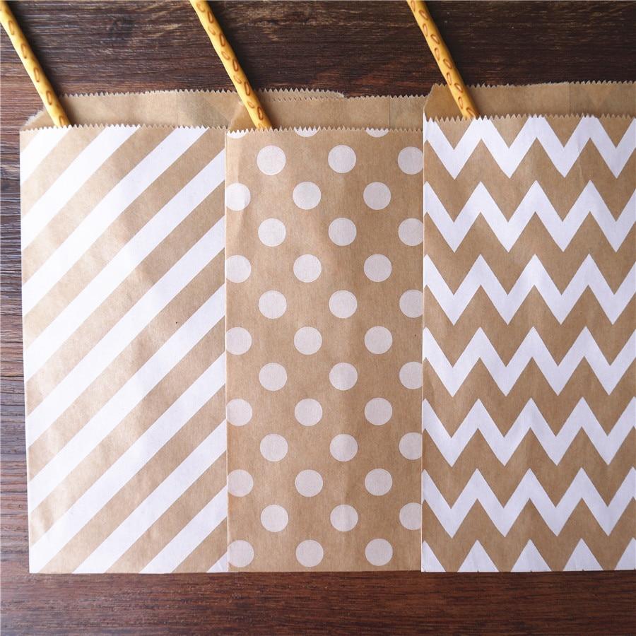 25pcs Treat Candy Bag Chevron Polka Dot Bags Kraft Paper Bags Favors Supplies Gift Bags Wedding Birthday Xmas New Year Party