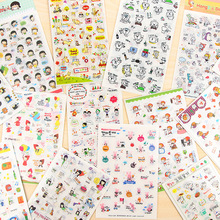 6pcs/set Lovely Cartoon Notebook Stickers Transparent Journal Diary Decor Stationery Scrapbook Sticker Bullet Supplies