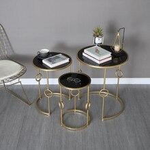 цена Simple Nordic Metal Coffee Table Living Room Sofa Side Table Creative Small Round Table 3 pieces Combination Glass Table онлайн в 2017 году