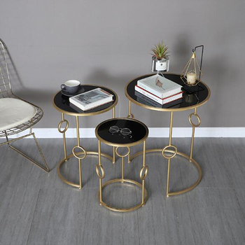 Simple Nordic Metal Coffee Table Living Room Sofa Side Table Creative Small Round Table 3 pieces Combination Glass Table stainless steel sofa side table corner table tempered glass small apartment living room round coffee table end table