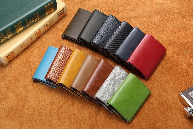 Bycobecy Antitheft Men Vintage Credit Card Holder Blocking Rfid Wallet Leather Unisex Security Wallet Leather Women Magic Wallet 4