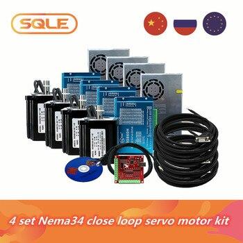 Nema34 obwód zamknięty silnik prądu stałego 4 zestaw 12N /8.5N/4.5N silniki i sterowniki HBS860H i zasilacz 400w i 4-osiowy kontroler USB MACH3