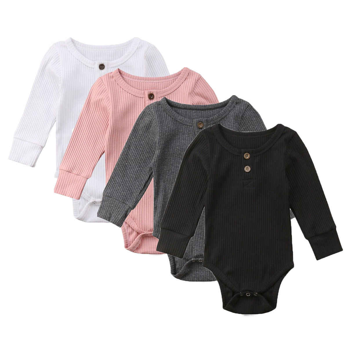 New Newborn Baby Girl  Long Sleeve Clothes Solid Button Girls Knitted Bodysuits Baby Bodysuit Jumpsuit Playsuit Outfits 0-24M
