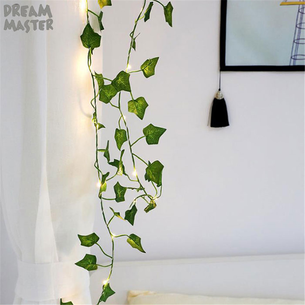 2019 New Leaf Garland Holiday Lamp AA Battery Operate Copper LED Fairy String Lights For Christmas Wedding Party Art Decor Light
