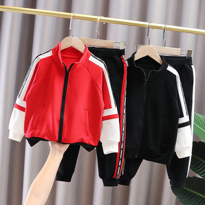 2021 spring and autumn boy jacket children's children's clothing letter stitching cotton sports suit fashion boy baby suit