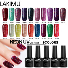 LAKIMU neón de Color Gel polaco Semi permanente Neon Gel polaco uñas arte Gel esmalte de uñas en Gel eliminable en remojo esmalte laca Gel uñas(China)