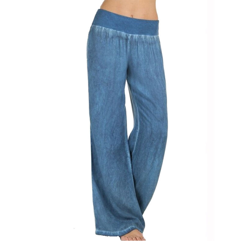 Women's Spring Summer Loose Waist Wide Leg Pants Long Jeans Solid Color Trousers