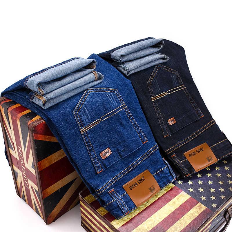Brother Wang ماركة 2019 جديد الرجال الجينز موضة الأعمال عادية تمتد جينز ضيق السراويل الكلاسيكية الدنيم السراويل الذكور أسود أزرق