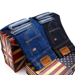 Image 3 - جينز رجال الأعمال على الموضة من Brother Wang بنطال جينز غير رسمي ممشوق ذو قصة ضيقة من قماش الدنيم بنطلون أسود أزرق