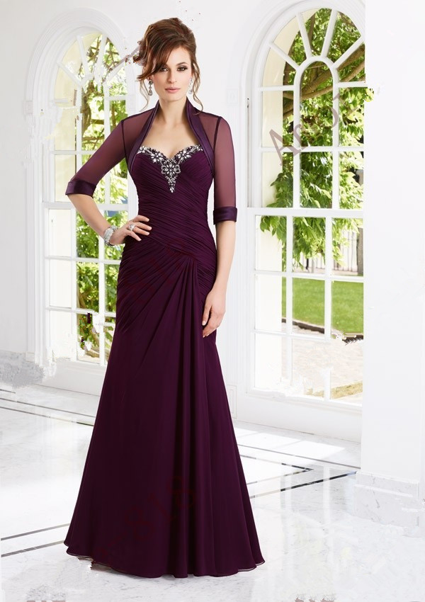 Elegant Long Plus Size Mother Of The Bride Dresses With Jacket Crystal Beaded Chiffon Wedding Party Gowns Abendkleider 2015