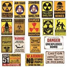 Aviso perigo radiação metal vintage estanho sinais casa bar pub garagem posto de gasolina decoração placas homem caverna adesivo de parede