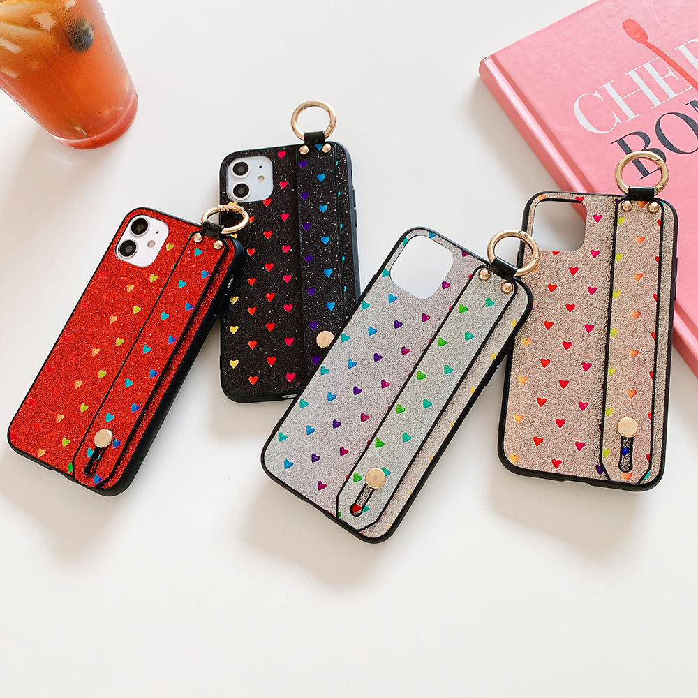 Luxury love bee glitter case For iPhone X Xs 11 Pro Max Cover XR Wrist strap Coque Capa For iPhone 7 8 Plus X SE 2020 Case Coque