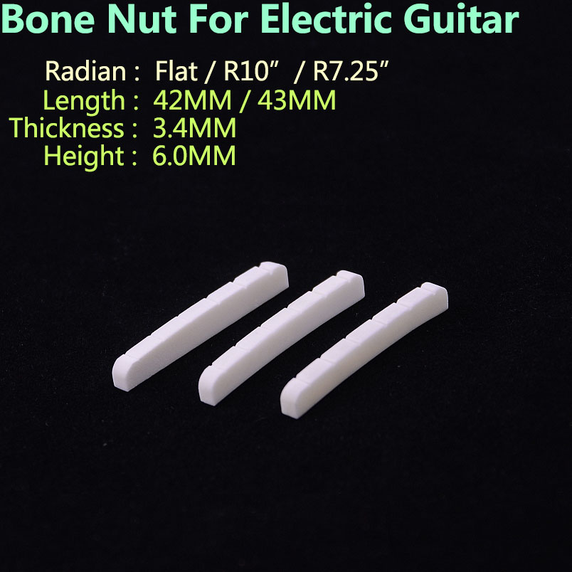 Real Slotted Bone Nut For  Electric Guitar  ( Bottom  Flat / R7.25 / R10   42MM/43MM*3.4MM*6MM )