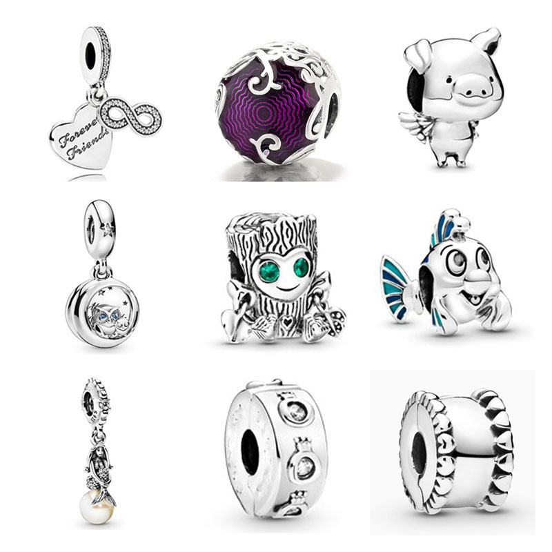 NEW 925 Sterling Silver forever friends owl Little Mermaid Flounder DIY bead Fit original Pandora Charm Bracelet Jewelry P005(China)