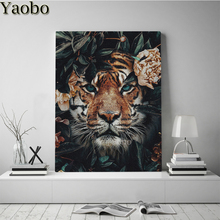 Tiger animal 5D DIY Diamond Painting kits Full Square round Drill Diamond Embroidery Mosaic Cross Stitch flower Decoration gift mooncresin diamond painting cross stitch comfortable tiger animal diy diamond embroidery full round 5d diamond mosaic decoration
