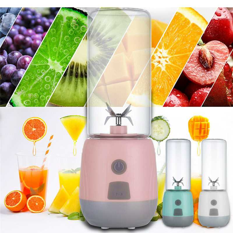 Portable 400ml 15000-22000rpm USB Electric Fruit Juicer 80W High Borosilicate Glass Handdle Smoothie Maker Juice Cup For Travel