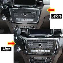 Prata/fibra de carbono console central do carro modo voz painel guarnição acessórios interiores para mercedes benz gle gls classe w166 2013-2019