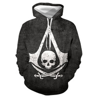 Autumn And Winter 2019 Assassin Creed Hip hop Men's Fitness Sanitary Clothes 3d Hat Black And White Men's And Women's Clothes