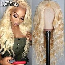 Perruque Lace Front Wig brésilienne naturelle Lemoda, cheveux humains, HD, couleur blond miel 613, 13x4, densité de 150%