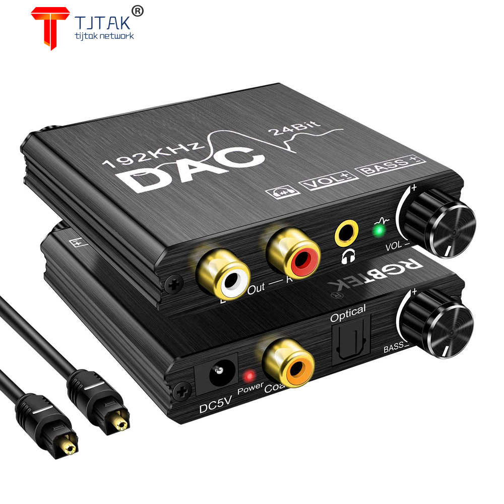 24bit DAC Digital To Analog R/L Audio Converter Optical Toslink SPDIF Coaxial to RCA 3.5mm Jack Adapter Support PCM /LPCM