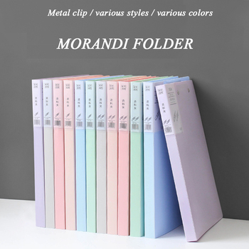 A4 Morandi Strong Clip Creativity Office Data Box File Filing    Office Stationery Large Capacity Portfolio Office Stationery