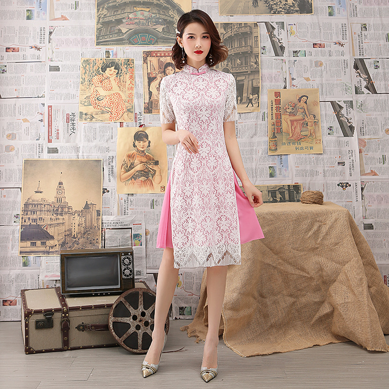 Vintage Short Ladies Lace Chinese Traditional Slim Qipao Classic Mandarin Collar Stage Show Elegant Female Cheongsam S-3XL
