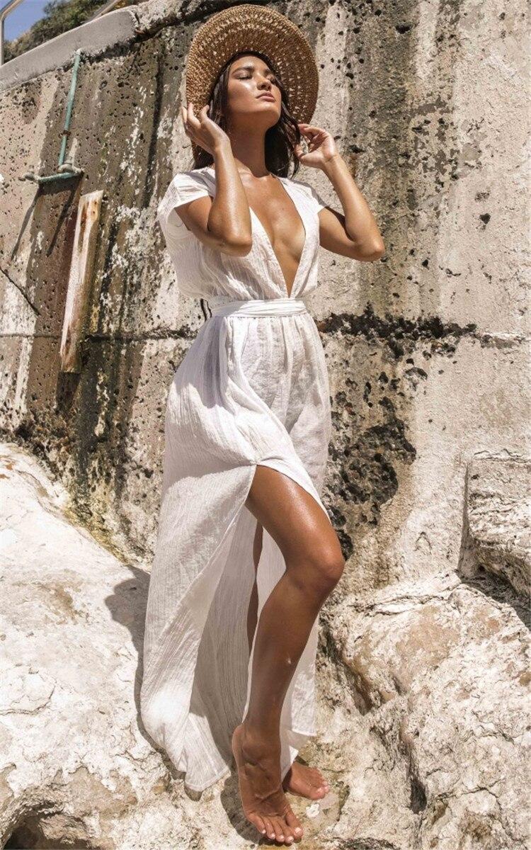 Europe And America Fabric Deep V-neck Dew Suspender Strap Belt Beach Skirt Holiday Long Skirts Bikini Outer Blouse Sun Shirt Wom