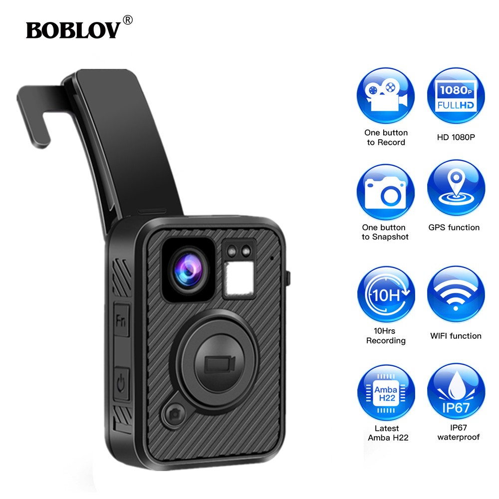 BOBLOV Wifi Police Camera F1 32GB Body Kamera 1440P Worn Cameras For Law Enforcement 10H Recording GPS Night Vision DVR Recorder