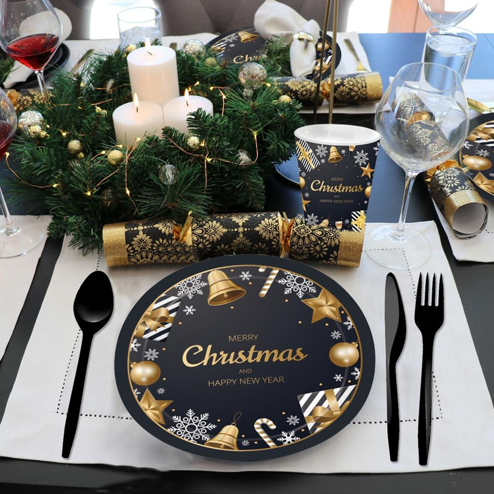 US $2 06 OFF PATIMATE Black Gold Tableware Christmas Tableware Merry Christmas Decoration For Home Table Happy New Year Decor Navidad 2019 Pendant