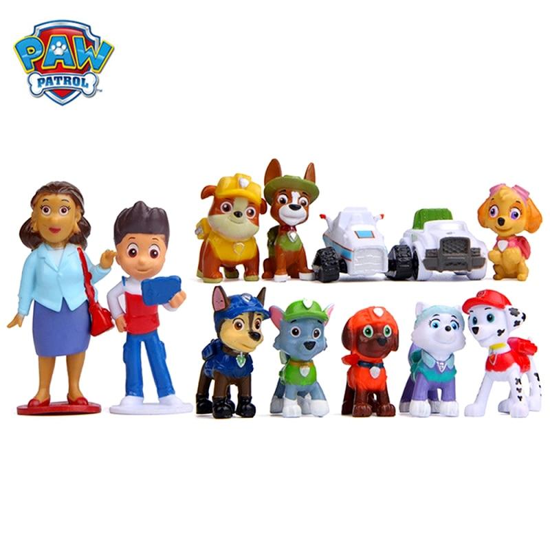 12pcs set paw patrol rescue dog toy ryder everest tracker anime action figure model cake decoration toy child birthday xmas gift