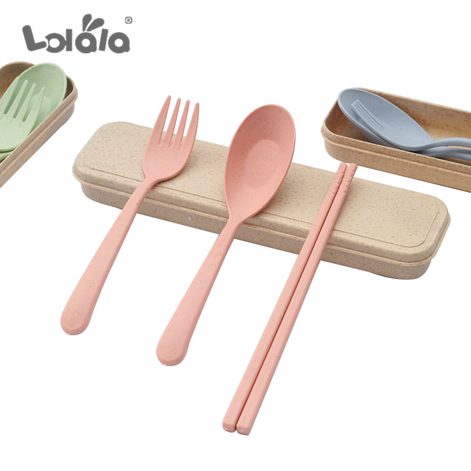 Portable Wheat Straw Tableware Cutlery Set Three Piece For Children Adult Travel Cutlery Kit Gift Dinnerware Set Kitchen Tools