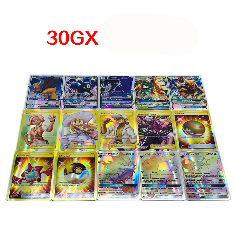 30Pcs New GX EX Mega Game Collection Paper Cards For Funs Gift Children Gift English  Pikachued Toys