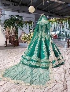 Image 4 - Glitter Dark Green Lange Mouwen Baljurken Trouwjurken Met Sluiers 2020 Puffy Arabisch Moslim Kant Voor Bridal Vrouwen