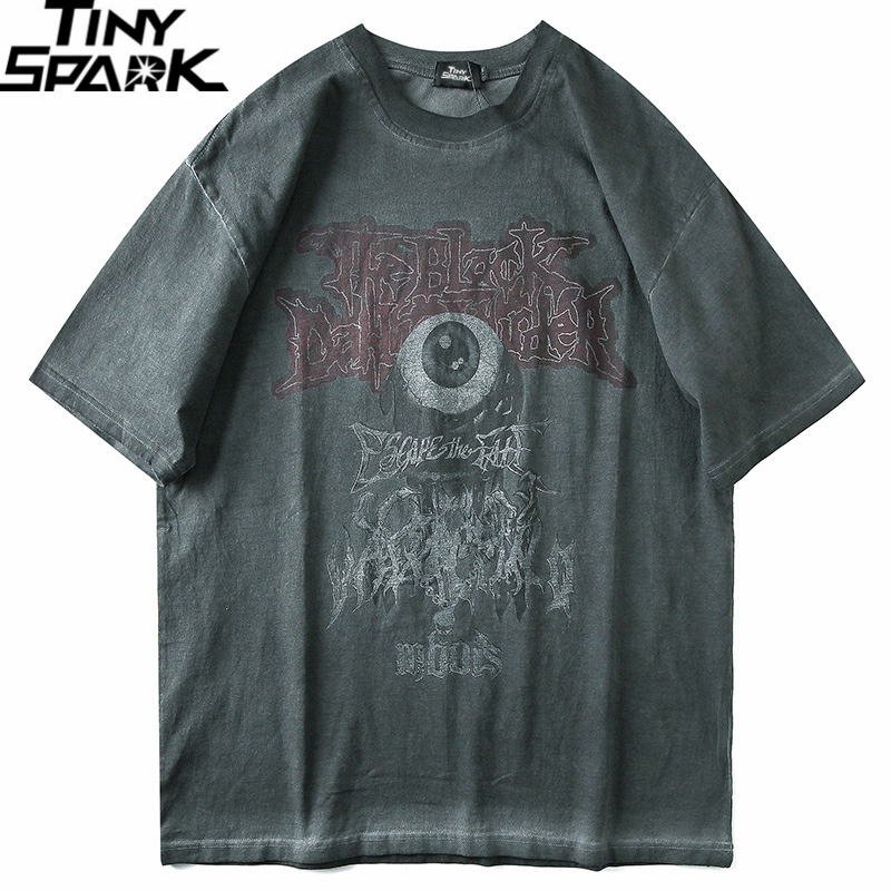 Men T Shirt Hip Hop 2020 Dark Streetwear Tshirt Evil Eye Print Harajuku Summer Short Sleeve T-Shirt Cotton Tops Tees Oversize