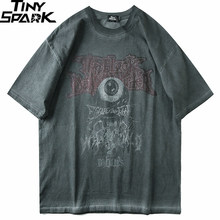 Camiseta masculina hip hop 2020, streetwear escuro, estampa de olho evil, harajuku, verão, manga curta, de algodão tamanho grande