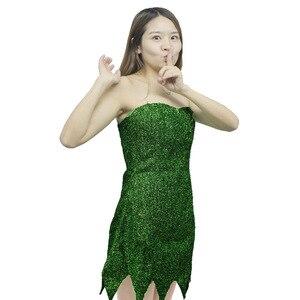 Image 4 - 2019 nowy Pixie bajki Cosplay kostium Dzwoneczek zielony dla dorosłych sukienka Tinkerbell Halloween Party Sexy Cosplay Mini sukienki z długim rękawem duże peruka